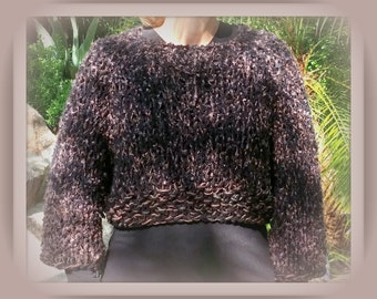 SWEATER WOMENS KNITTED  Bulky Pullover Brown Cropped Long Sleeves