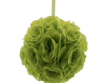 "9"" Green Silk Rose Flower Pomander Kissing Balls Wedding Pew Decoration Baby Shower Party Decor"