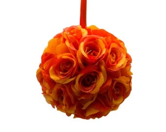 "9"" Orange Silk Rose Flower Pomander Kissing Balls Wedding Pew Decoration Baby Shower Party Decor"