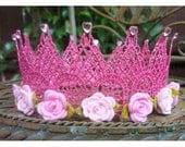 pink glitter princess crown