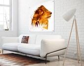 A01 - Lion - Savanna - Large wall art - Modern - Geometric