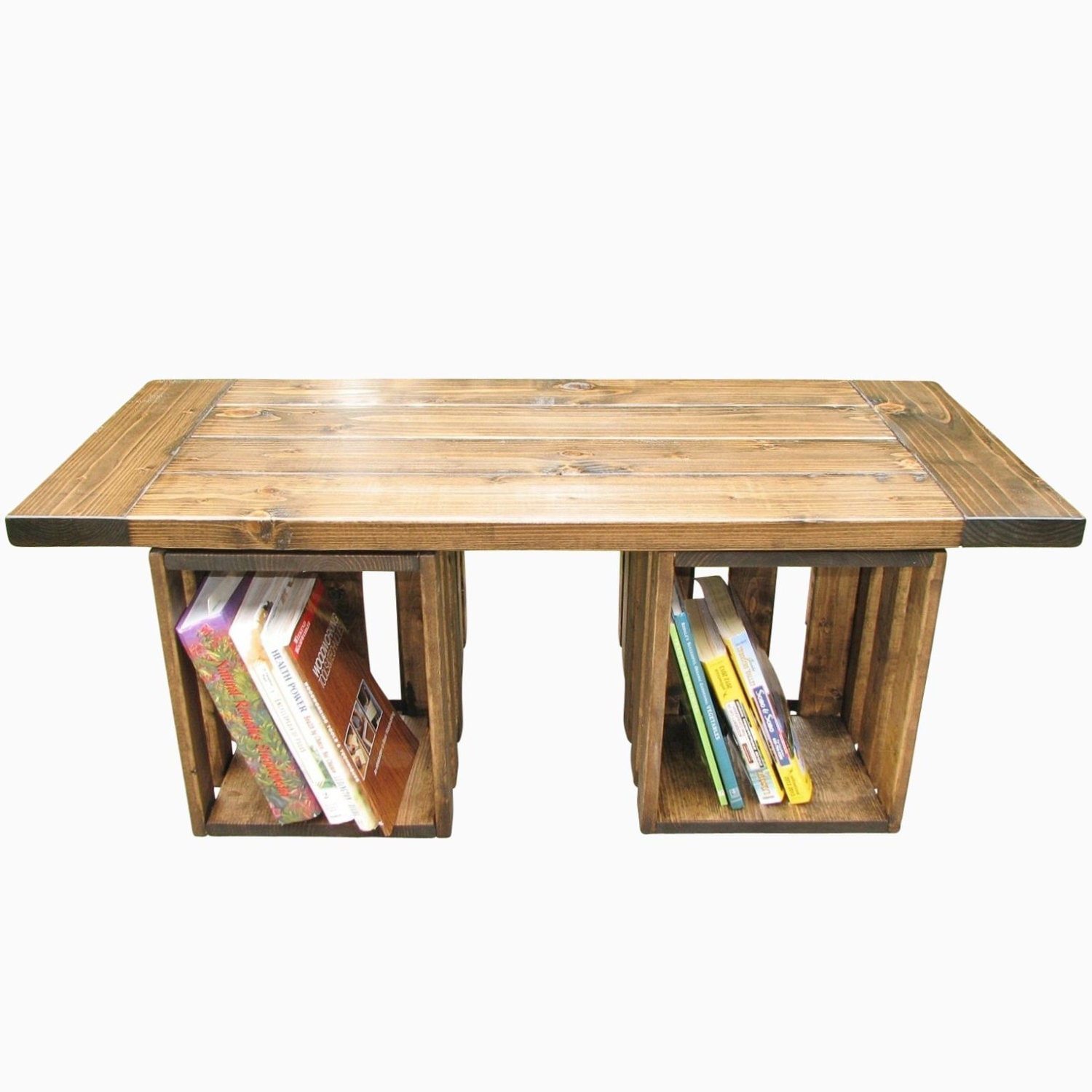 Coffee table farmhouse rustic crate storage country for Crate style coffee table