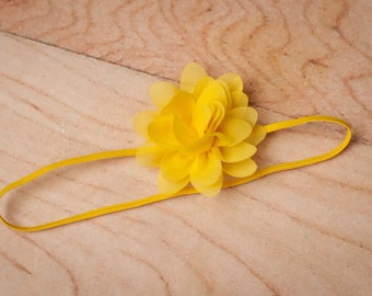Yellow Chiffon Headband, Flower Headbands, Baby Headband, Yellow Headbands, Newborn Headband, Baby Headbands