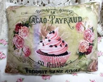 Pink CUPCAKE Pillow, FRENCH Cupcake Pillow,  French Script, Paris Decor,  Shabby Pillow