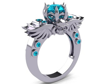 Art Masters Classic Winged Skull 10K White Gold 1.0 Ct Paraiba Tourmaline Solitaire Engagement Ring R613-10KWGPTU