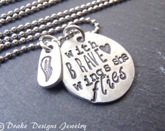 with brave wings she flies inspirational jewelry graduation gift