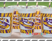 LSU Party Cups-Geaux Tigers-Set of 8