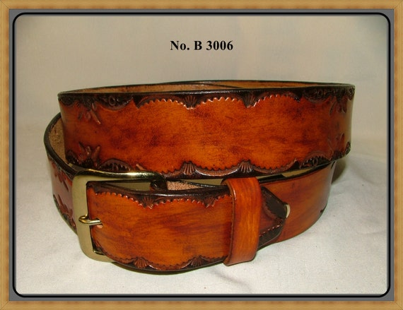 """Hand Tooled, Handcrafted, Handmade, Hand finished - Men's Leather Belt - No. B 3006 - 1 1/2 """" Wide."""