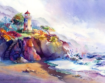 Coastal Colors - Watercolor Seascape Art Print by Michael David Sorensen. Ocean Painting. Colorful Lighthouse Watercolor. Magenta. Blue.