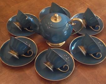 """Flintridge """"Sylvan"""" - Teapot With Six Cup and Saucer Sets"""