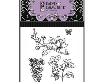 Paper Parachute Red Rubber Cling Rubber Stamp Set 84 - UMC084 Floral