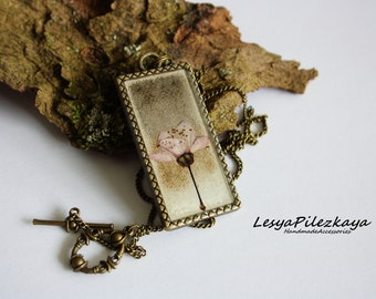 Real plum flower pendant - nature jewelry