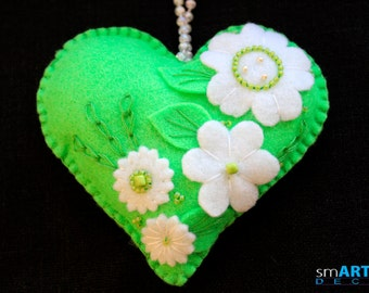 Felt Ornament Lime Green Heart. Decorated with beads and felt flowers