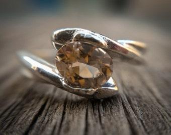 Golden Beryl Ring , Heliodor Silver Ring , Golden Aquamarine , Yellow Beryl Ring