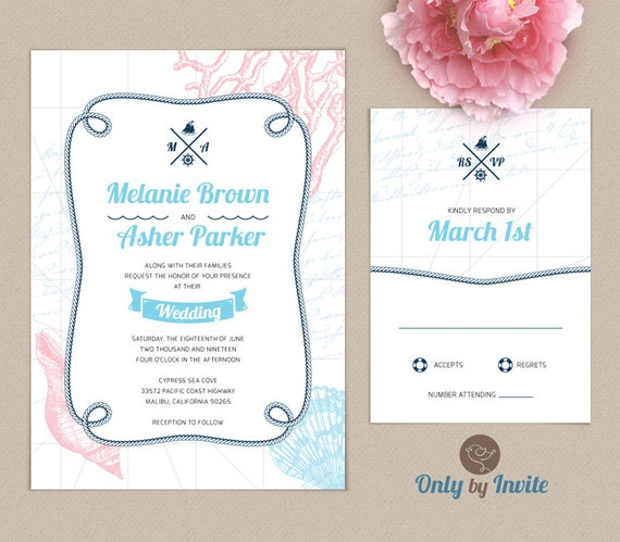 Beach Wedding Invitations And RSVP Cards Printed By