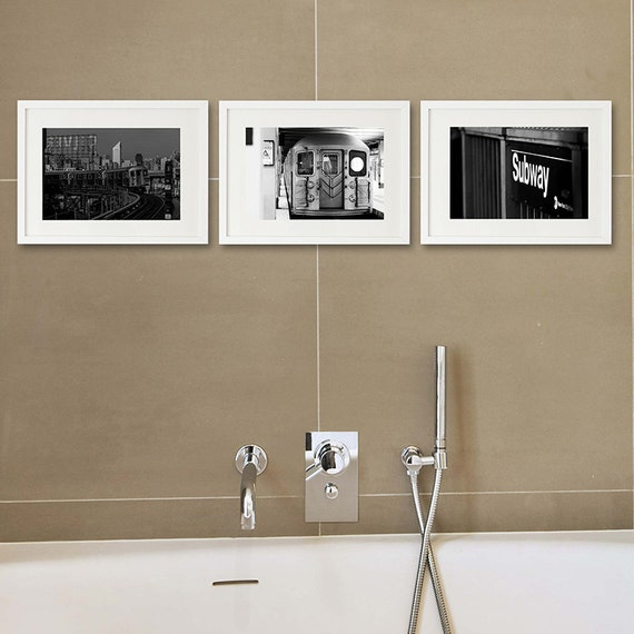 White Wall Decor For Bathroom : Bathroom decor set of new york black and white by
