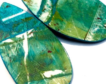 Ocean Breeze Abstract, Wooden, Painted, Earrings, Mixed Media, Green, Teal, Stud