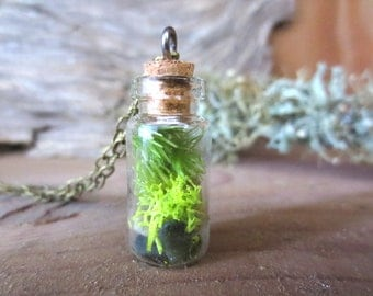 You are my World....Tiny Live Moss Terrarium Necklace Magic little live necklace