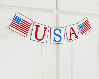 FREE SHIPPING, USA banner, 4th of July decorations, Summer party decor, Memorial day decor, Patriotic sign, Photo prop, Welcome, America