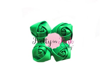"Emerald Satin Rolled Rosettes Lot of 4...Rolled Rosettes...Mini Rolled Rosettes...1.5"" Rosettes"