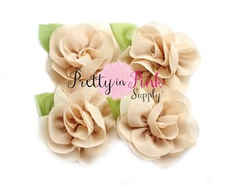 Tan Chiffon Rose with Leaf Flower...You Choose Quantity...Chiffon Rose Flower...Rolled Rosettes...Mini Rolled Rosettes...Shabby Rose