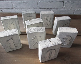 Table Number Rustic Wedding Distressed White Beach or Boho Wedding