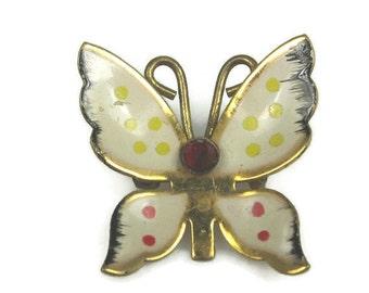 Coro Enamel Butterfly Pin Brooch 1950s