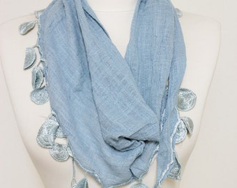 Linen Steel Blue Lace scarf, Embroidery scarf, Pom Pom Scarf, trim shawl, Guipure Scarf spring - summer - fall fashion