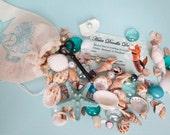 Mermaid's Bounty-Mermaid's Bag of Treasure- Bag of Sea Shells-Tiny Shells- Craft Shells-Mermaid's Purse-Mermaid Gift