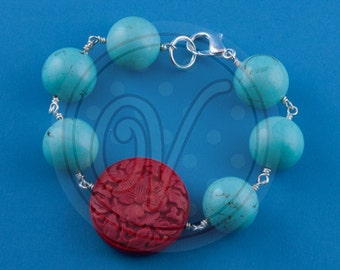 Turquoise and Cinnabar single strand bracelet