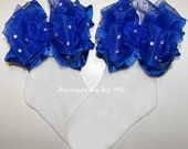Glitzy Royal Blue Bow Socks Organza Ruffle Embellished Girls Baby Infant Toddler Child Accessory Cinderella Pageant Birthday Party Occasion