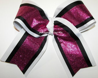 Big Cheer Bow, Sparkly Cheerbow, Pink White Black Football Cheerleader Bows, Softball Volleyball Soccer Team Bow, Wholesale Cheap Bulk Price