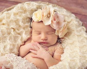 Cream/rose pink floral headband, flower headband, baby headband