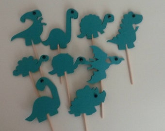 Green dinosaur cupcake toppers, double-sided, 9 pieces