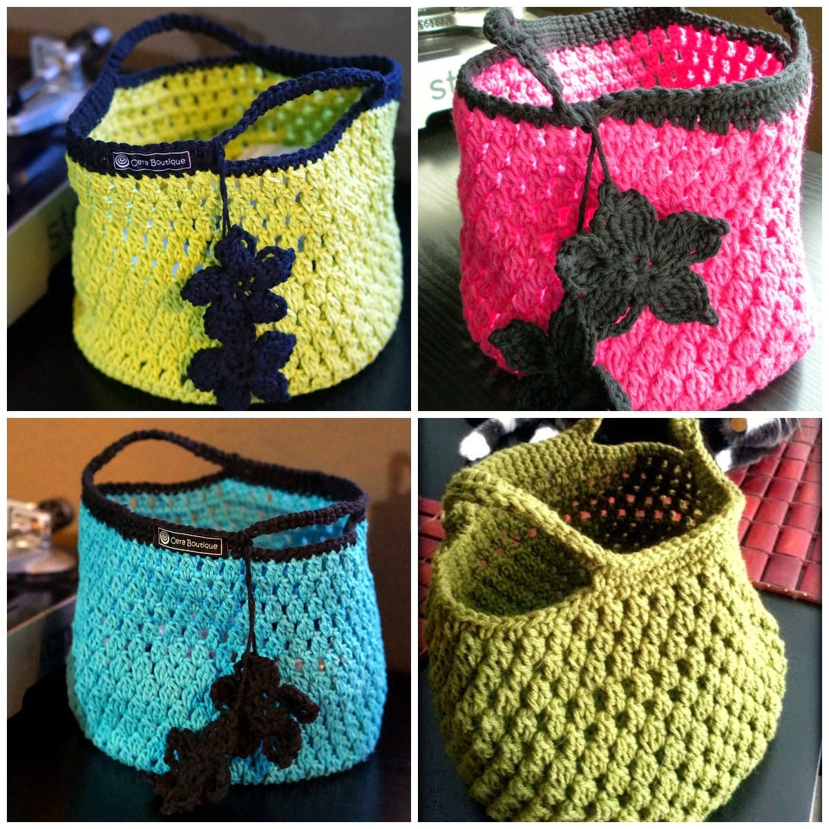 Crochet Small Tote Bag Pattern : Instant Download PDF Easy Crochet Pattern Cotton Crochet