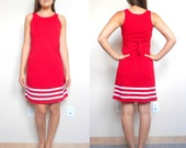 Vintage Sporty Red Summer Dress // Striped // Cheerleader // Tie Back // Women's Small