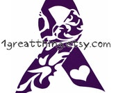 Fundraising -25 PACK- Vinyl 4 by 6 inches Awareness Ribbon Decals - ALL PURPLE