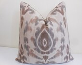 Sunbrella Bukhara Pillow - Taupe, Tan, Brown Cream Outdoor /Indoor Pillow Cover - Ikat Sunbrella outdoor Pillow- Sunbrella cushion-20 x 20