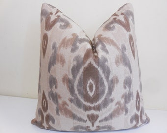 Sunbrella Bukhara Pillow - Taupe, Tan, Brown Cream Outdoor /Indoor Pillow Cover - Ikat Sunbrella outdoor Pillow- Sunbrella cushion-