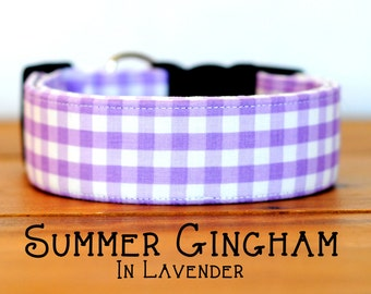 Modern Summery Gingham Dog Collar in Lavender