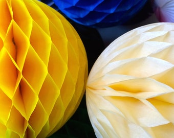 Yellow 16 Inch Honeycomb Tissue Paper Balls - Paper Party Decor Decoration Supplies