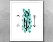 Feather And Arrows Printable, 8x10, Instant Download, Feather Arrow Print, Tribal Art Print, Wall Art, Digital Art Print