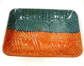 Teal Orange Dish, Boho Chic, Candy Dish, Trinket Dish, Teal Orange Plate, Jewelry Dish, Orange Dish, Teal Orange Pottery, Boho Room Decor