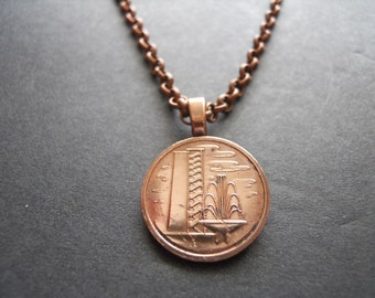 Singapore Copper Colored Coin Necklace - Singapore Copper Colored  Pendant with Bail and Chain