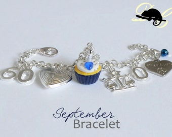 Your SEPTEMBER Birthday Bracelet - Cupcake with candle, birthstone,letter,locket, and zodiac charm - Personalised (In Stock)
