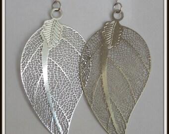 Silver Leaf Earrings Silver Filigree Silver Dangle Earrings Leaf Earrings (Smaller)