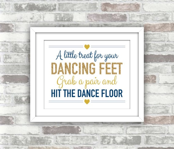 INSTANT DOWNLOAD - Printable Wedding A little treat for your dancing feet Flip flops Favour sign - 8x10 - Gold glitter Navy - DIY wedding