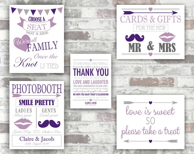 PRINTABLE Wedding Purple Collection - Choose a seat, Thank You, Photobooth, Cards Gifts, Candy Bar Love is Sweet Signs -  Digital Files