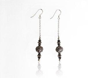 Bali Silver & Swarovski Crystal Dangle Earrings