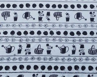 Summer Garden Print Fabric Cotton Pique by the Yard Navy on White